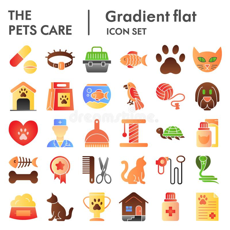 Pets care flat icon set, vet symbols collection, vector sketches, logo illustrations, animal signs color gradient vector illustration