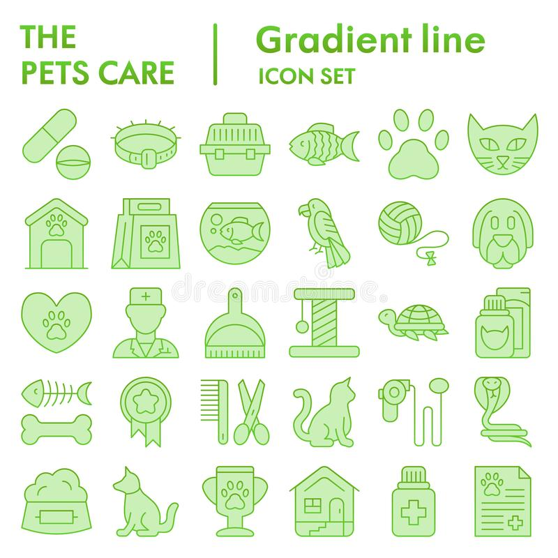 Pets care flat icon set, vet symbols collection, vector sketches, logo illustrations, animal signs green gradient vector illustration