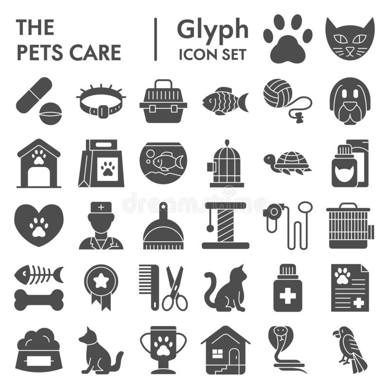 Pets care glyph icon set, vet symbols collection, vector sketches, logo illustrations, animal signs solid pictograms vector illustration