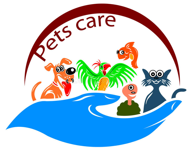 Pets care symbol. Isolated line art pets care symbol design stock illustration