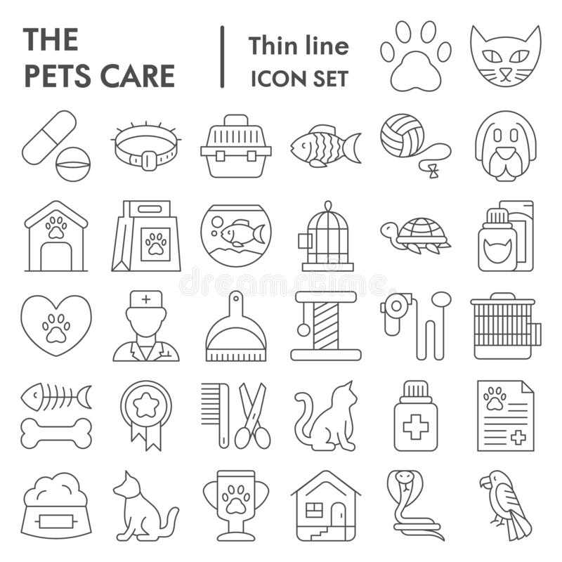 Pets care thin line icon set, vet symbols collection, vector sketches, logo illustrations, animal signs linear royalty free illustration