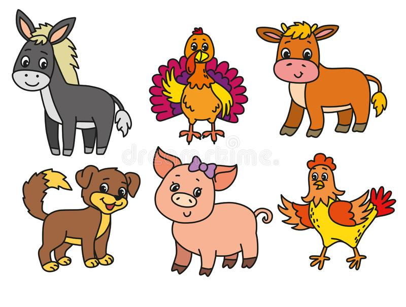 Pets cartoon illustration stock photos