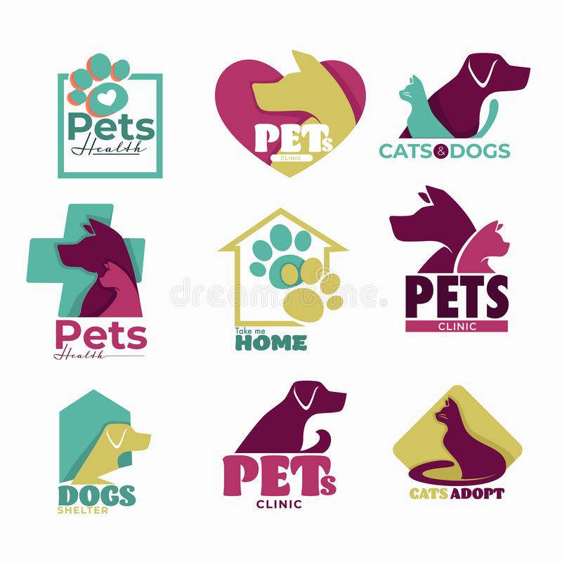 Pets clinic and shelter isolated icons dog and cat. Dog and cat pets vet clinic and shelter isolated icons vector treatment and veterinarian medicine domestic royalty free illustration