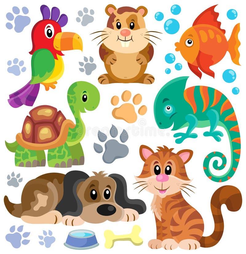 Pets a coleção 1 do tema ilustração royalty free