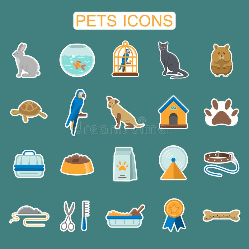 Pets flat icons stickers set royalty free illustration