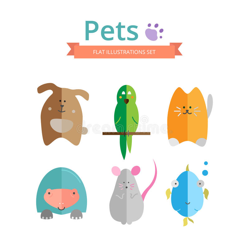 Pets flat. Set of colorful illustrations of pets. Dog, cat, parrot, fish, mouse and turtle icons in flat style. Ideal for veterinary and pet shop web sites and royalty free illustration