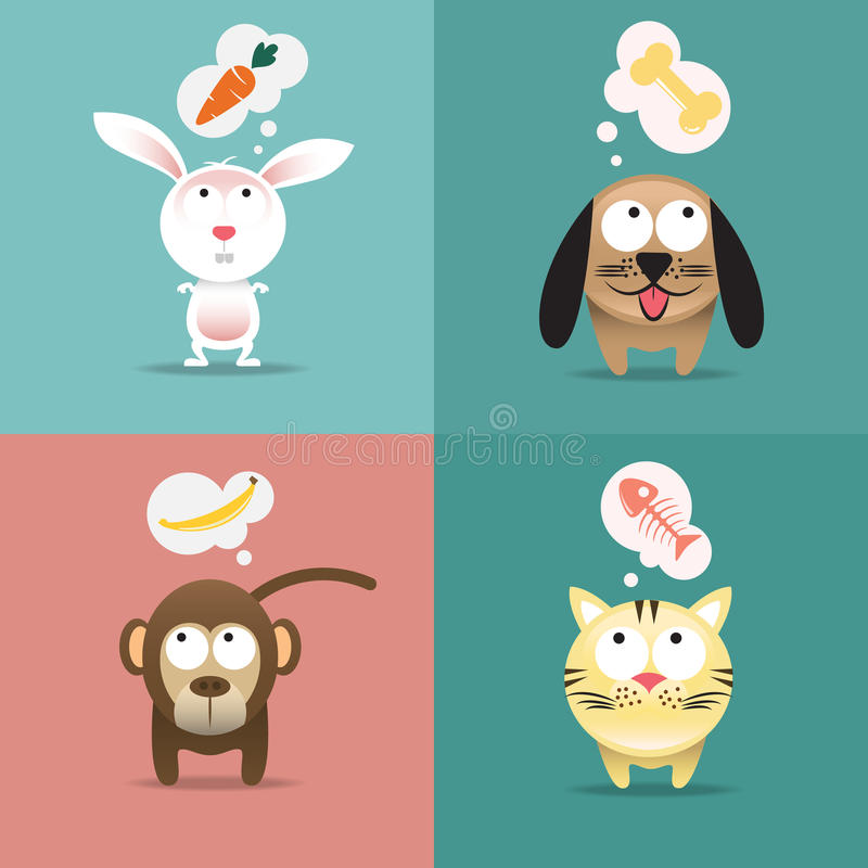 Pets. Graphic of lovely pet and their meal royalty free illustration