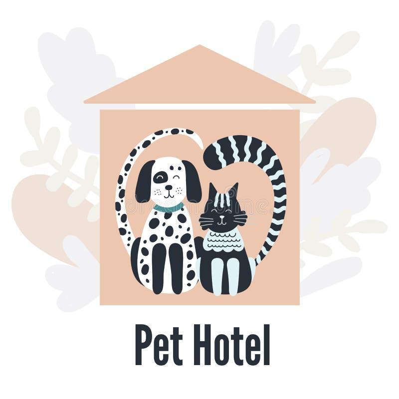 Pets Hotel Gatto e cane Siluette a forma di cuore Casa rosa Foglie illustrazione vettoriale