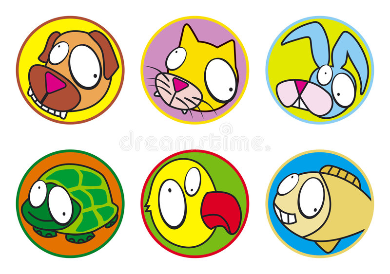 Pets icons color. Pets icons set, black & white. Vector illustration EPS (ai8), easy to modify and high resolution JPEG stock illustration