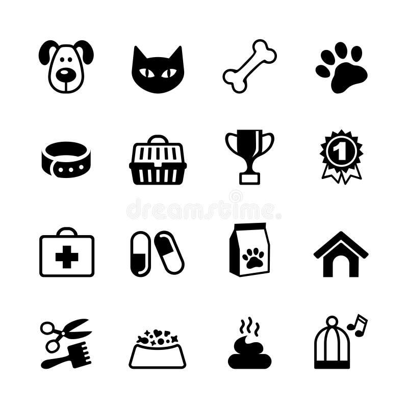 Pets icons set. Set - 16 web icon Pets, Veterinary emblems, veterinary pharmacy stock illustration