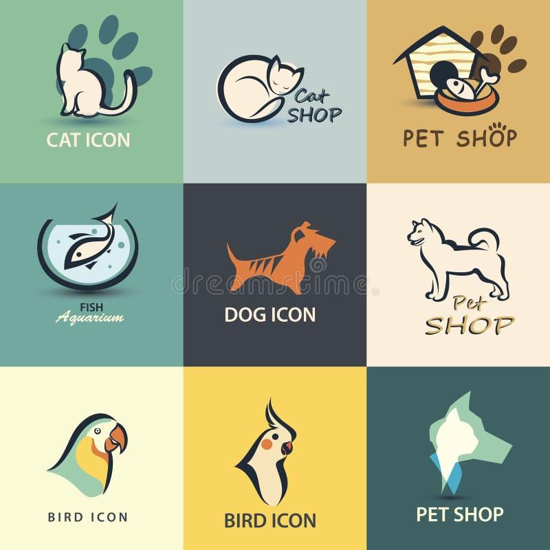 Pets la raccolta delle icone illustrazione vettoriale
