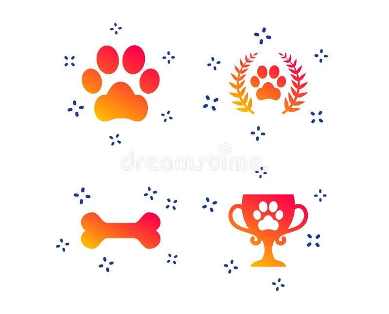 Pets le icone Segno della zampa del cane Corona dell'alloro del vincitore Vettore royalty illustrazione gratis