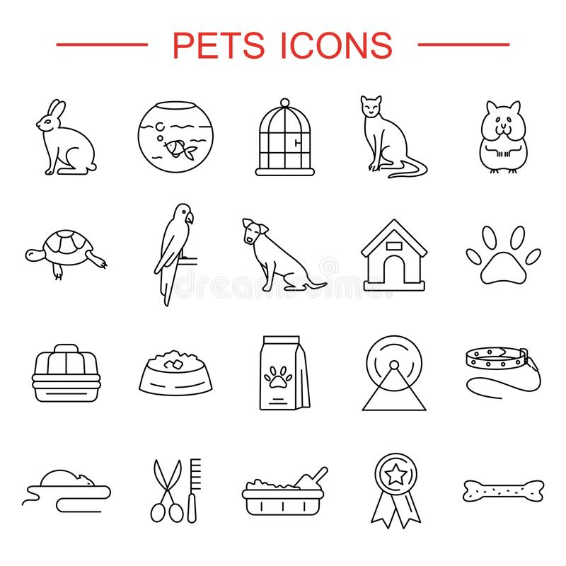 Pets line icons set stock illustration