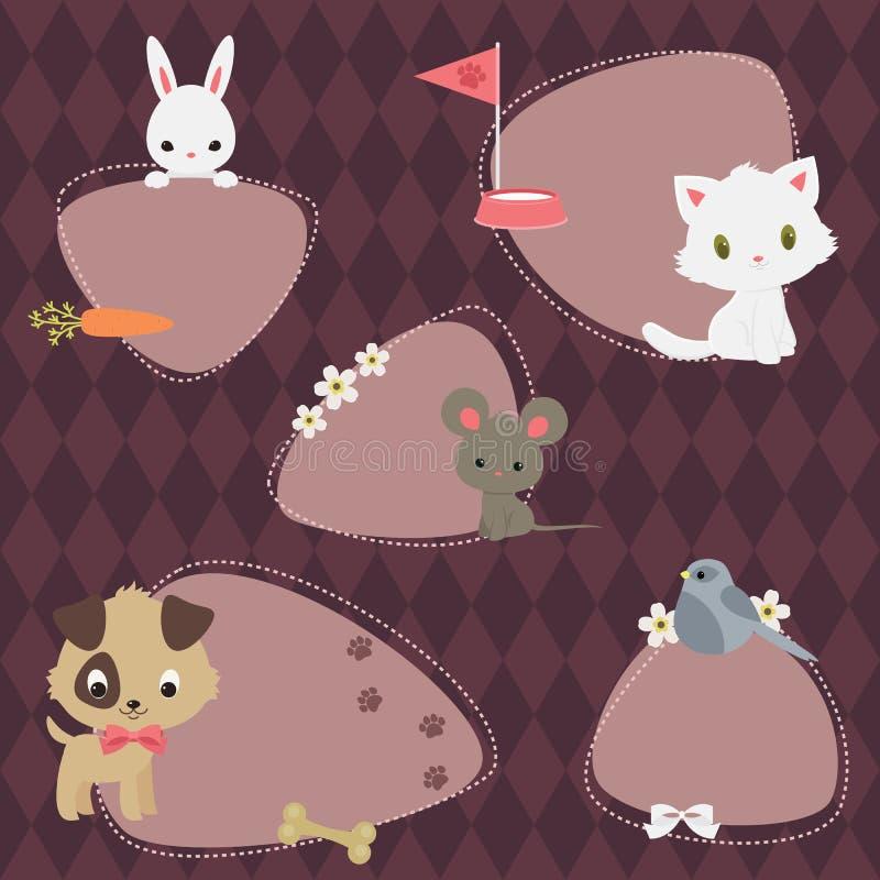 Pets o grupo de etiquetas ilustração stock