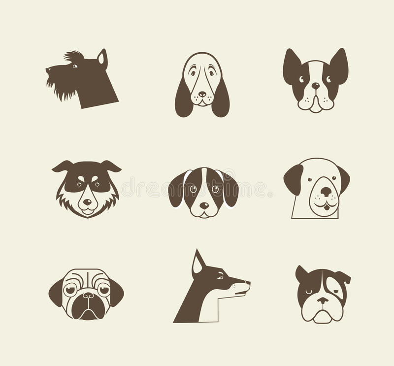 Pets vector icons - cats and dogs elements royalty free illustration