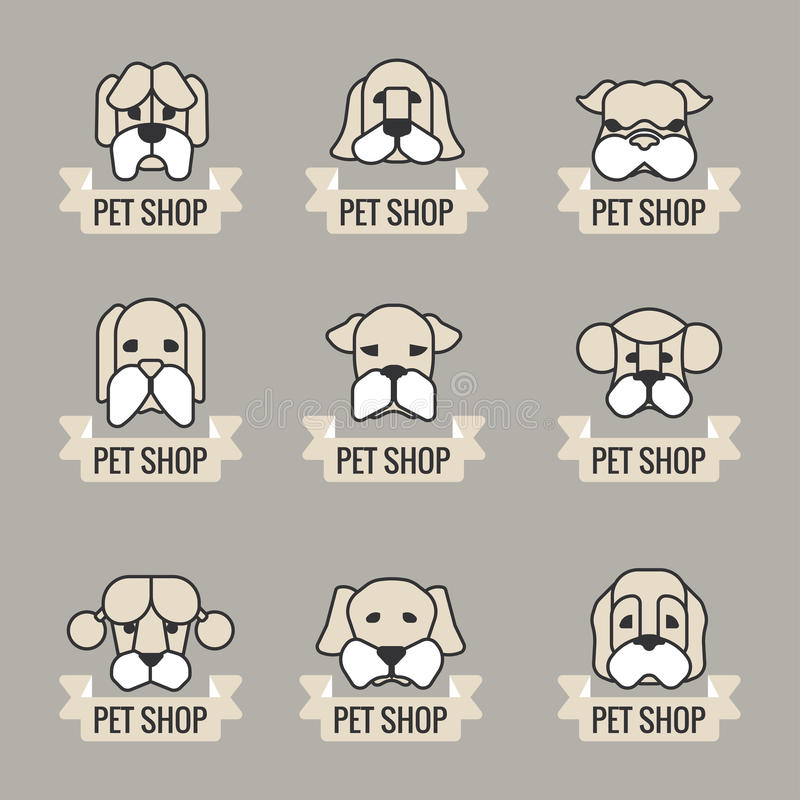 Pets vector icons - dogs elements royalty free illustration