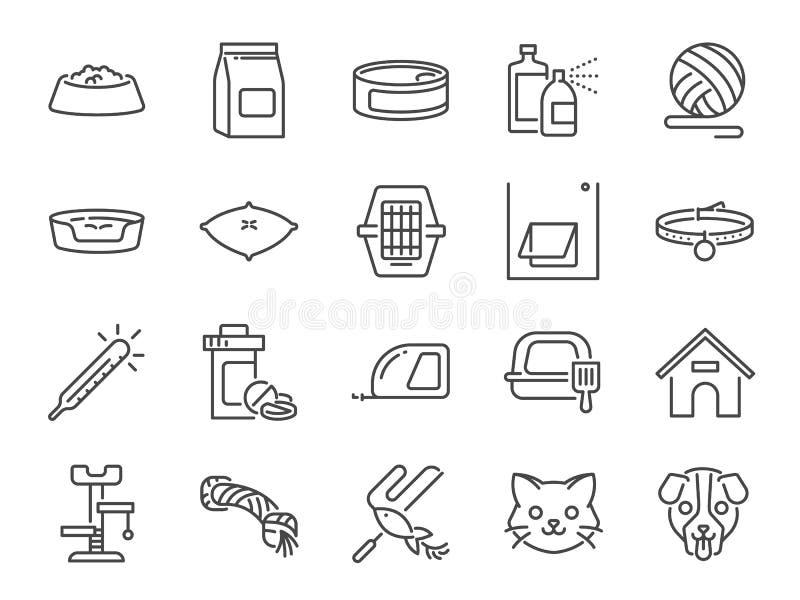 Petshop线象集合 包括的象当宠物店,宠物,猫,狗,维生素,玩具和更 库存例证