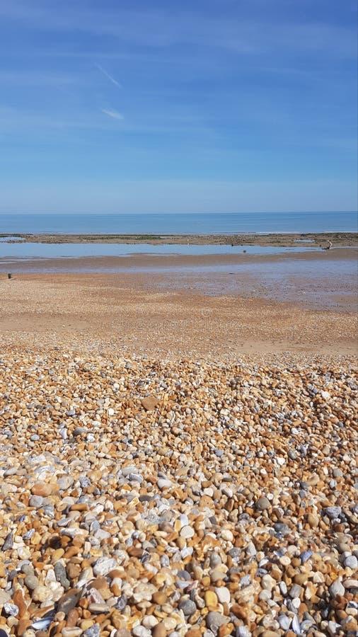 Pett level beach in England, UK. Stone beach in Britain. royalty free stock photo
