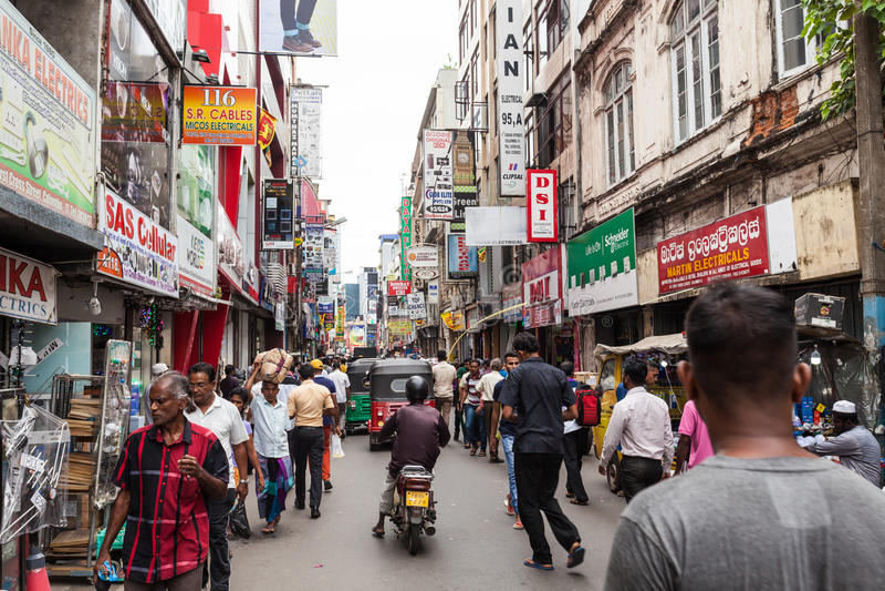 Pettah Targowa ulica, Kolombo obraz royalty free