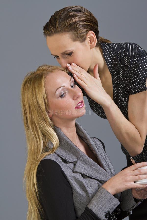 Pettegolare delle due ragazze immagine stock