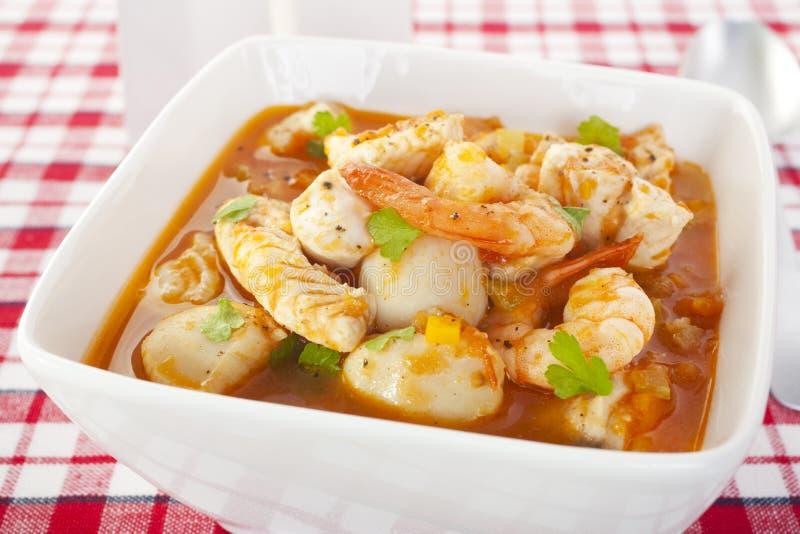 Pettini dei gamberetti della minestra dei pesci fotografia stock