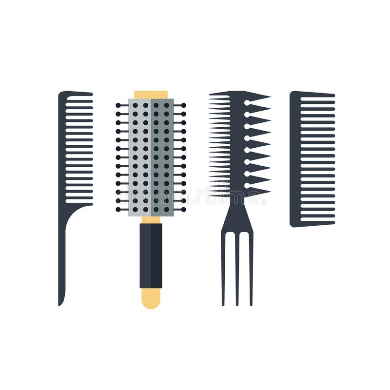Pettini piani stabiliti isolati su fondo bianco - illustrazione Attrezzatura per il parrucchiere, disegnante strumento Accessorie illustrazione vettoriale