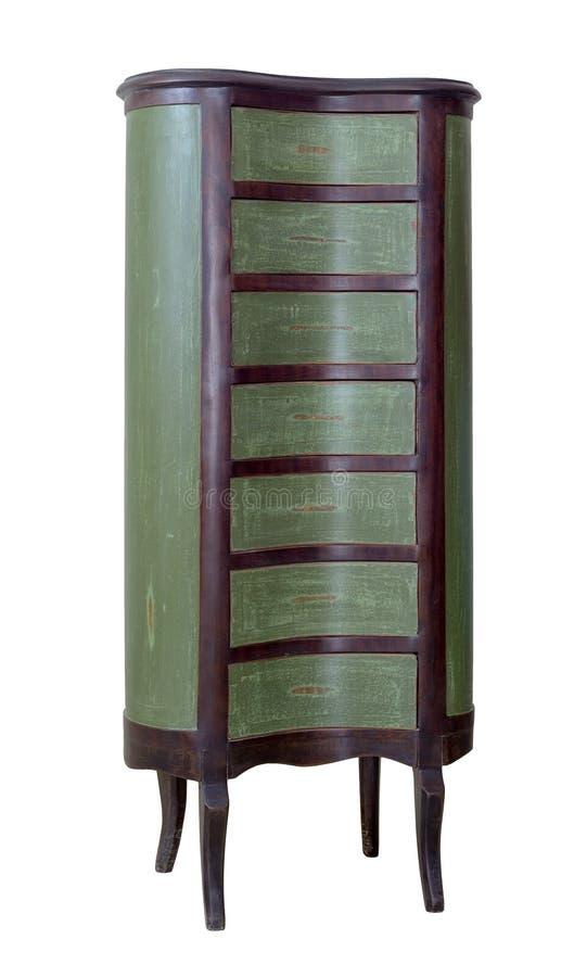 Petto di legno d'annata del cassetto dell'oggetto d'antiquariato sette dipinto nel marrone verde e scuro isolato su fondo bianco  fotografia stock
