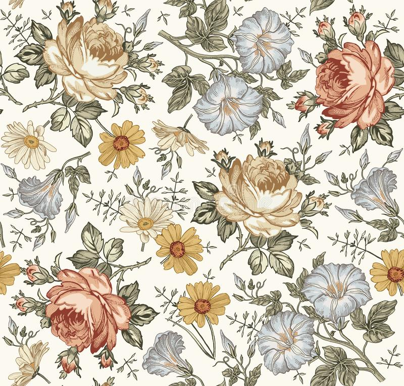 Petunia d'annata isolata realistica di Rosa della camomilla del fondo dei fiori del modello senza cuciture che disegna incidendo  fotografia stock