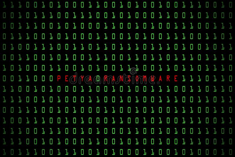 Petya Ransomware-woord met technologie digitale donkere of zwarte achtergrond met binaire code in lichtgroene kleur 1001 vector illustratie