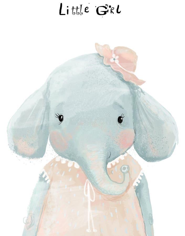 Peu éléphant de fille d'aquarelle avec la robe rose illustration de vecteur