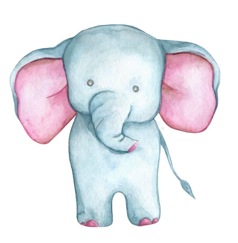 Peu éléphant mignon de bande dessinée - illustration d'aquarelle image stock