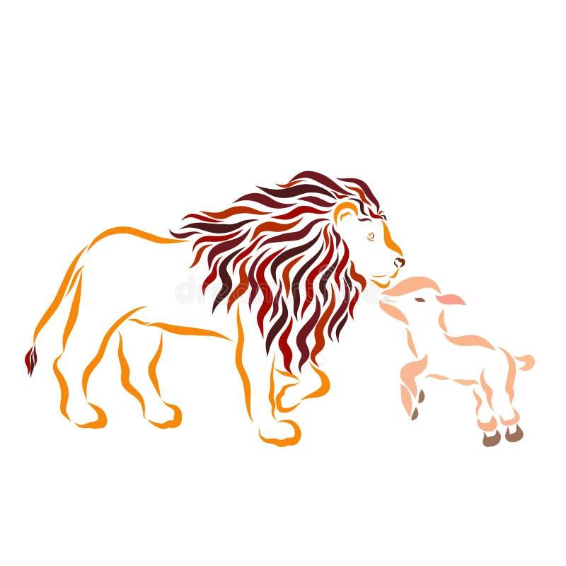 Peu agneau et grand lion aimable fort illustration stock