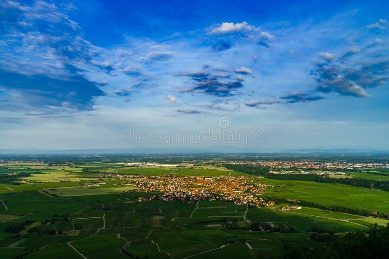 Peu alsacien le village Scherwiller dans les vignobles verts, v aérien photo stock