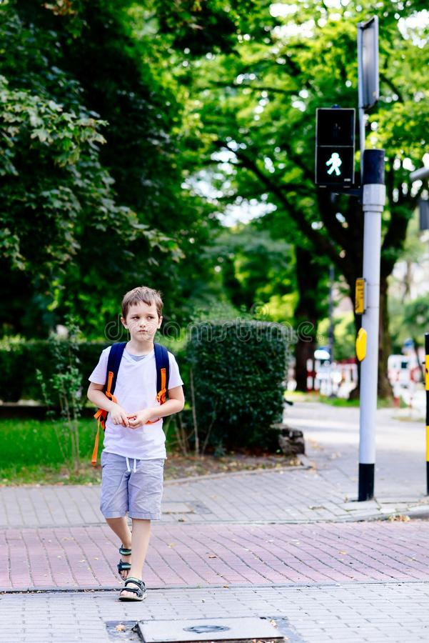 Peu 7 ans d'écolier de route de croisement sur le feu vert photographie stock