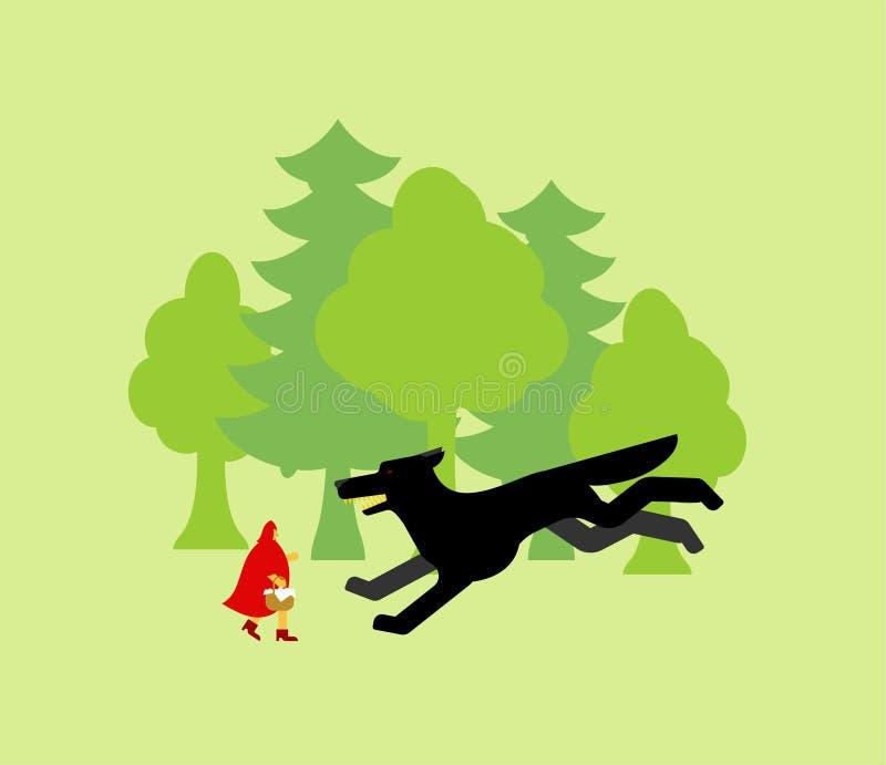 Peu attaque rouge de capuchon et de loup illustration stock