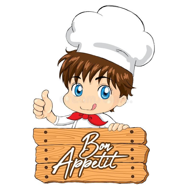 Peu chef - Bon Appetit pour le Web de menu d'emballage de mascotte illustration stock