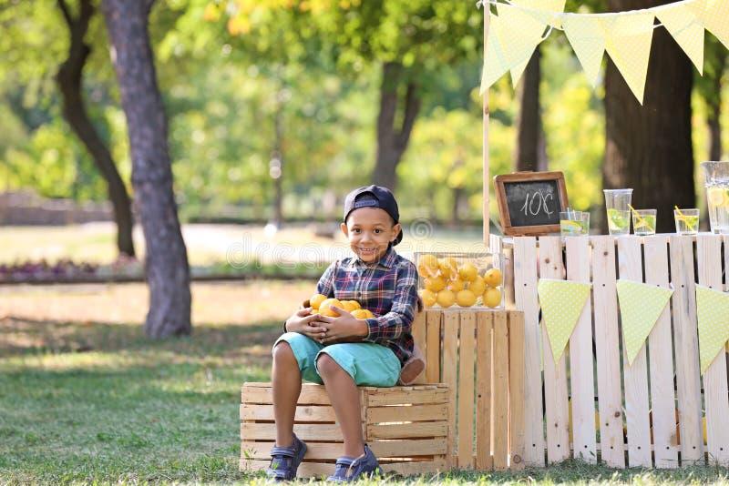 Peu cuvette afro-américaine de participation de garçon avec les citrons mûrs près du support en parc images stock