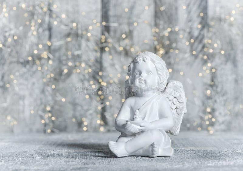 Peu décoration de fête de Noël de lumières d'ange gardien photos libres de droits