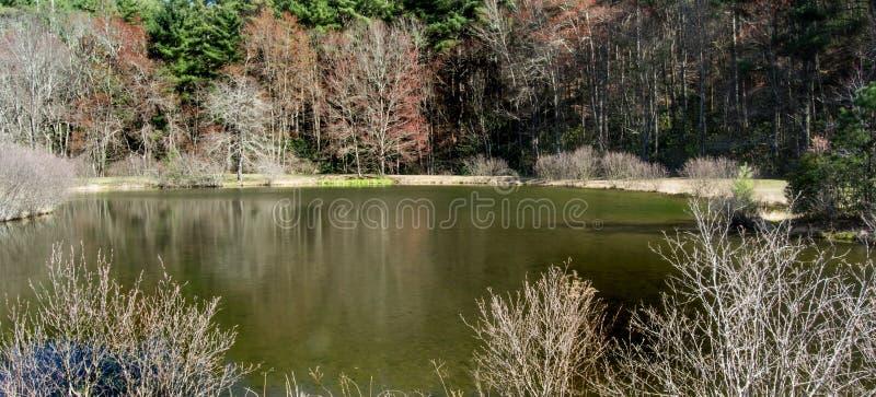Peu d'étang de moulin de clairière, Ridge Parkway bleu, la Caroline du Nord, Etats-Unis photos stock