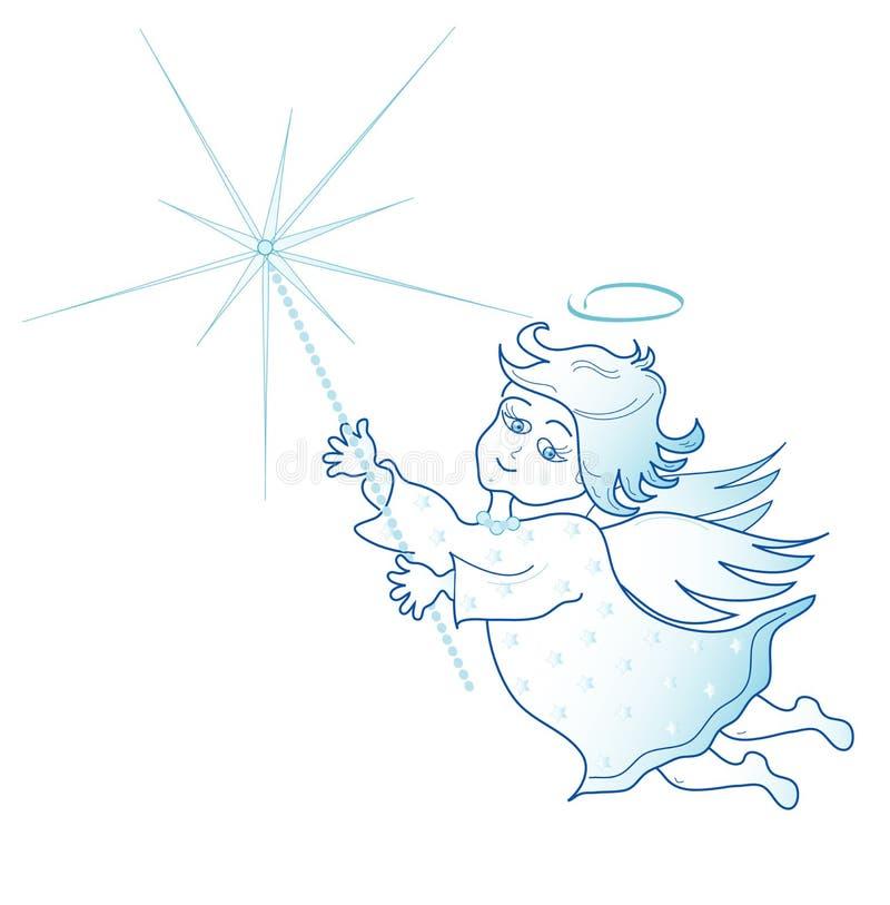 Peu d'ange avec le cierge magique de Noël, vecteur illustration stock