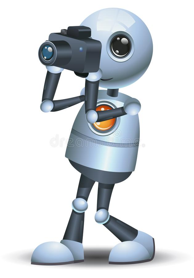 Peu d'appareil-photo de prise de robot sur le fond blanc d'isolement illustration libre de droits