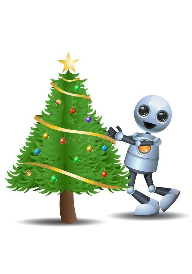 Peu d'arbre de Noël d'étreinte de robot illustration libre de droits