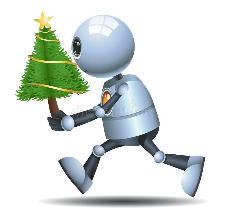 Peu d'arbre de Noël de prise de robot illustration stock