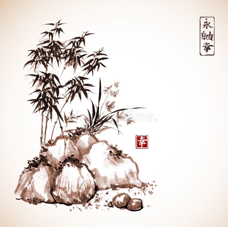 Peu d'arbre en bambou et orchidée sauvage sur des roches illustration de vecteur