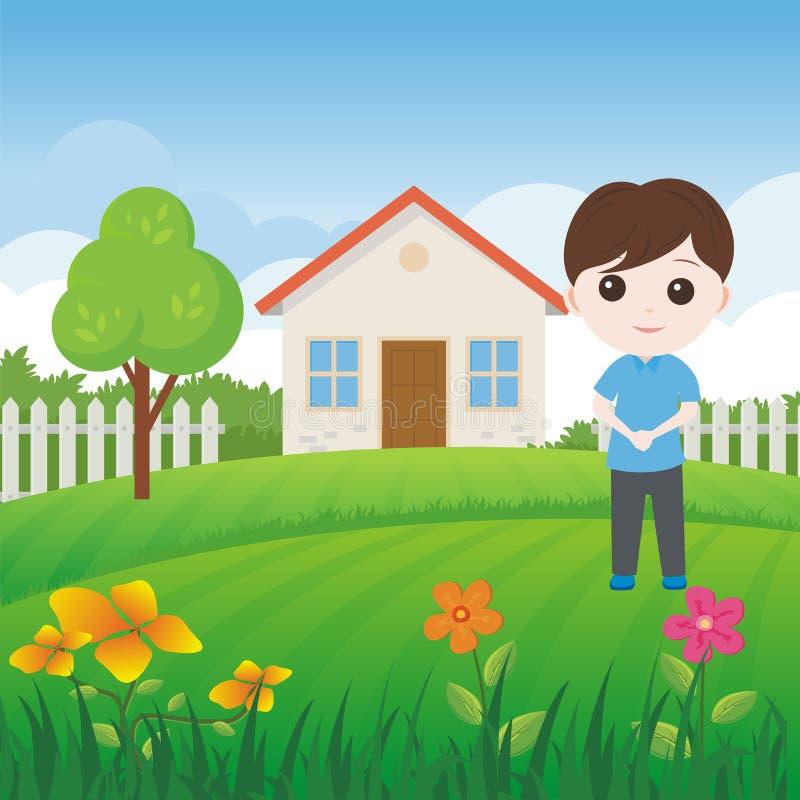 Peu d'enfant avec la maison douce et le beau paysage illustration de vecteur