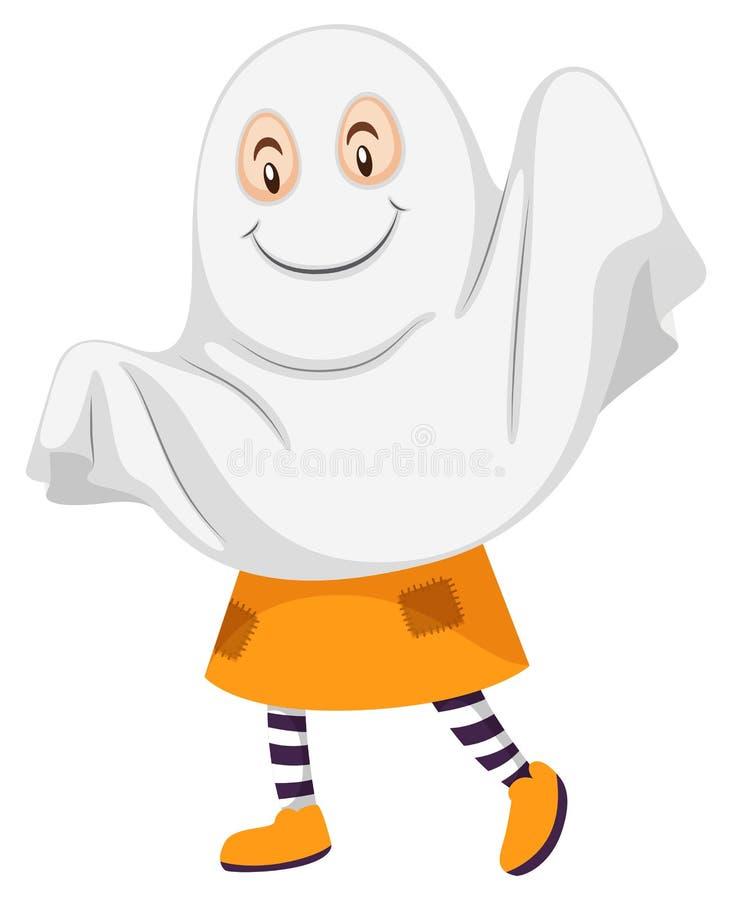 Peu d'enfant dans le costume de fantôme illustration libre de droits