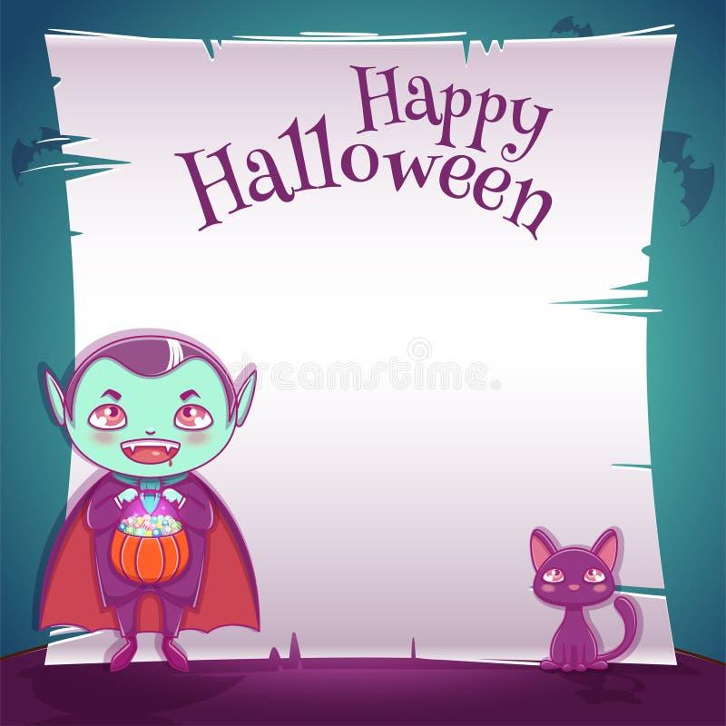 Peu d'enfant dans le costume du vampire avec le chaton noir Partie heureuse de Halloween Calibre Editable avec l'espace des texte illustration libre de droits