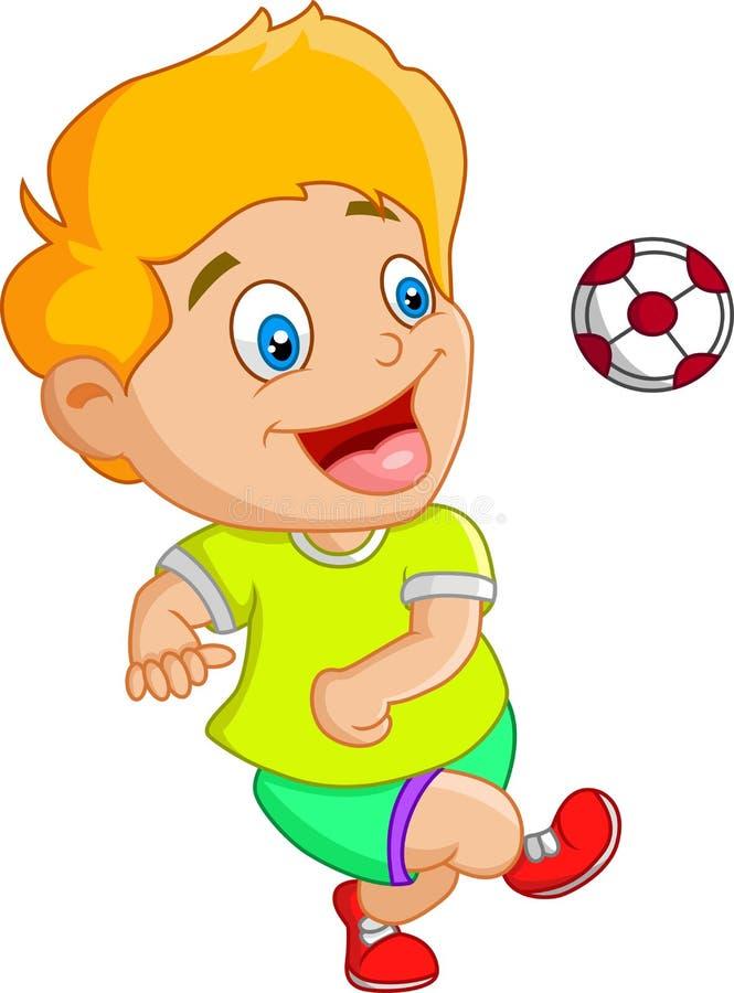 Peu d'enfant jouant le football, le football illustration stock