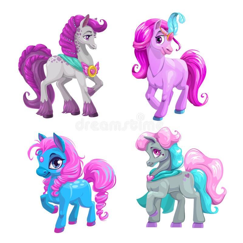 Peu d'ensemble mignon de princesse de poney de bande dessinée Belles icônes de chevaux de vecteur illustration stock