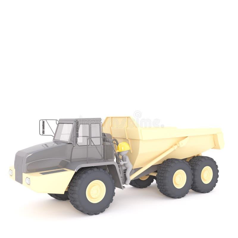 Peu d'homme 3d sur un grand camion industriel jaune illustration stock